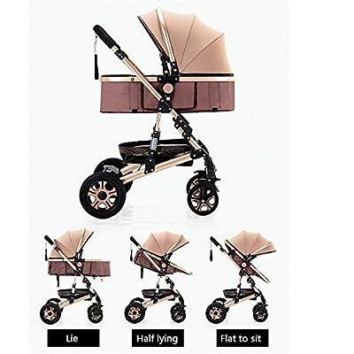 HJJGRASS Kinderwagen Buggy Jogger Kinderwagen, hohe Landschaft Multifunktions sitzen Zwei-Wege-Allrad-Stoßdämpfer Falten Neugeborenen Kinderwagen Baby,L