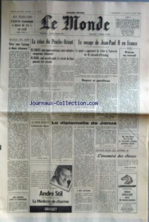 MONDE (LE) [No 10991] du 01/06/1980 - ECONOMIE AUX ETATS-UNIS - VERS UNE EUROPE A 2 VITESSES - LA CRISE DU PROCHE-ORIENT - M. SADATE ET M. BEGIN - LE VOYAGE DE JEAN PAUL II EN FRANCE - G. D'ESTAING - LA DIPLOMATIE DE JANUS PAR DUVERGER - HELION DANS LES ANNEES 50. par Collectif