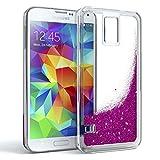 EAZY CASE GmbH Hülle für Samsung Galaxy S5 / S5 LTE+ / S5 Duos / S5 Neo Schutzhülle mit Flüssig-Glitzer, Handyhülle, Schutzhülle, Back Cover mit Glitter Flüssigkeit, aus TPU / Silikon, Transparent / Durchsichtig, Violett