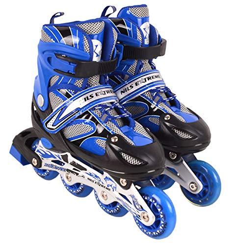 Nils Extreme inlineskates Kinder verstellbar Rollschuhe Schlittschuhe # 2in1 Inline Skates (Blau, L(39-42))