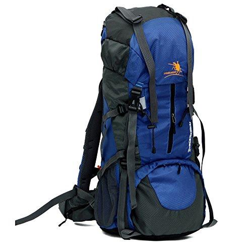 Huntvp Wasserdichter Wanderrucksack Großer Trekking Rucksack Klettertasche für Reise Camping Bergsteigen mit Regenhülle 65L Blau