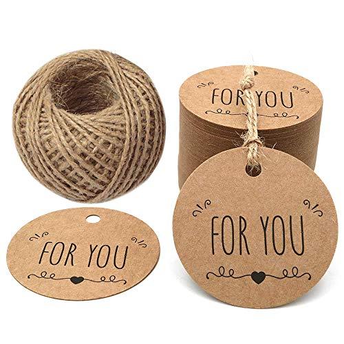 Zeagro - etichette per la festa del papà, 100 pezzi, etichette regalo in carta kraft, con filo da 30,5 m per progetti artigianali e bomboniere