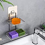 CARTSHOPPER Wall Mounted Double Layer soap Dish Holder Stainless Steel Wall Hanging Soap Storage Rack for Kitchen Bathroom-wi