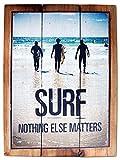 Seestern Deko Holz Wandbild im Vintage Sixties Surf Look 30 x 40 cm Surfing Motiv /1824