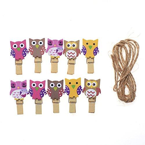 Kanggest 10pcs Mini Pinzas Madera Pequeñas Para Fotos Clips de Madera Decorativas Búho Colores Ropa Papel DIY Mini Fotos de Madera