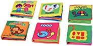 6 Pcs CLOTH BOOK Baby Soft Books for 1-36 month Educational Toy for Boy & Girl, Touch and Feel activity Wa