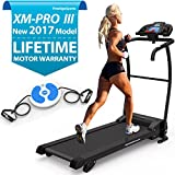 XM-PROIII TREADMILL - NEW Motorised Running Machine, Lightweight Folding Space Saving Design, Powerful Motor 1100W, 12KPH Speed, 3 Level Manual Incline, 12 Auto + 1 Manual Program, Built In Speakers, Connect Your Phone / iPod, Drinks Holder, Additional Hand Controls, Heart Rate Sensors