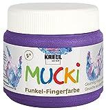 Kreul 23121 - Mucki schimmernde Funkel - Fingerfarbe auf Wasserbasis, parabenfrei, glutenfrei, laktosefrei und vegan, auswaschbar, vermalbar mit Pinsel und Fingern, 150 ml Dose, Zauber lila