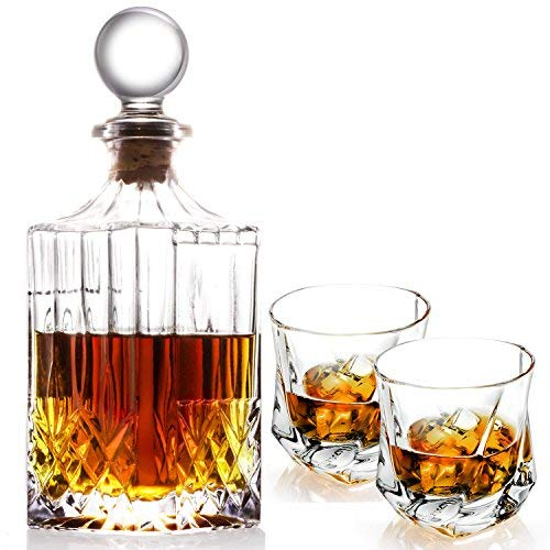 Lovinpro handgefertigten Whiskey-Dekanter-Set Whisky Glas Set Elegant Whiskey Dekanter mit kunstvollem Stopper und 2 Stück Twist Whiskey Gläser Glas Cocktail Decanter