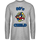 Statement Shirts - 80's Child - Zauberwürfel - XL - Grau meliert - BCTU005 - Herren Langarmshirt
