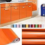 Liveinu Aufkleber Küchenschränke PVC Tapeten Küche Selbstklebend Klebefolie Möbel Wasserfest Aufkleber für Schrank Küchenschränke Möbel Selbstklebende Folie Küchenschrank Küchenfolie Dekofolie Orange 0.6x2m