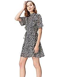 Amazon-Marke: find. Kleid Damen mit Rüschen-Details und Rückenschlitz