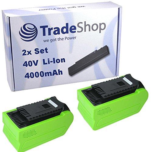 Preisvergleich Produktbild 2x Trade-Shop Premium Li-Ion Akku, 40V / 4000mAh / 160Wh ersetzt Greenworks Tools 29472 29282 2601102 20302 2601402 29727 für G-MAX Rasenmäher 2500007 2500107 2500207, Rasentrimmer 21107, Gebläse 24107