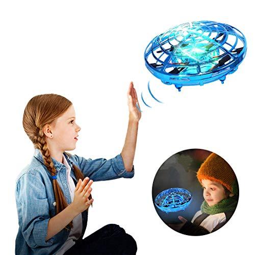 Handgesteuerte Drohnen für Kinder, UFO Mini Drohne Fliegend Ball Spielzeug, Hand frei Infrarot Wahrnehmung Drohne Spielzeug für Jungen und Mädchen Urlaub und Geburtstag Geschenke (Blau)