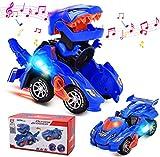 FOHYLOY Transforming Dinos Car, Jouet de Dinosaure Qui Bascule dans Une Voiture de Course, Jouet éducatif pour Enfants garçons et Filles de 3 à 6 Ans (Bleu)