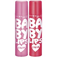 Maybelline New York Baby Lips Pink Lolita & Baby Lips Cherry Kiss Lip Balm , Pink, Red, 31.2 g (Pack of 2)