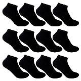 L&K-II 12 Paar Sneaker Socken Damen Kurzsocken Füßlinge atmungsaktive Baumwolle in Schwarz 92201 39-42