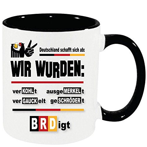 Lustige Sprüche Tasse XXL Schwarz 450ml Verkohlt Tasse zur Politik der Regierung SPD CDU AFD FDP