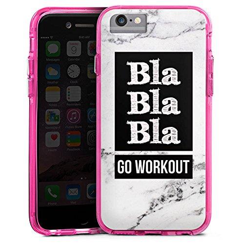 Apple iPhone 7 Bumper Hülle Bumper Case Glitzer Hülle Workout Fitness Phrase Bumper Case transparent pink