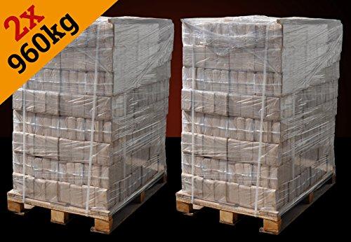 ▶ Holzbriketts Hartholz-Mix, *jetzt sparen beim Kauf von 2 Paletten*, 1920kg, kostenfreie Lieferung, Holz-Briketts *0,30€/kg*