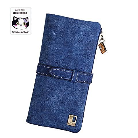 BIG SALE - 60% OFF - Woolala Womens Vintage Style Wallet Bifold Nubuck Drawstring Clutch Long Purse, blue