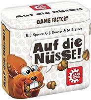 Game Factory 646273 Auf die Nüsse, das knackige Würfelspiel, Mini-Spiel in handlicher Metalldose, Reisespiel,