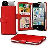i-Tronixs (Rot, 13,2cm (5,2Zoll) Tasche für Vernee M5, hohe Qualität, aus dünnem Kunstleder Klemmfeder zum Aufstecken verstellbar Brieftaschen-Design mit Kredit-/Debit Vernee M5