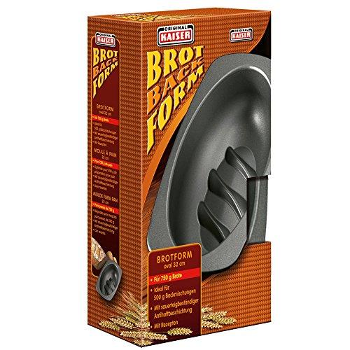 Kaiser Inspiration Brotbackform, oval 32 cm für 750g-Brote antihaftbeschichtet sauerteigbeständig praktischer Griffrand