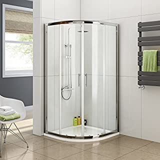 Aica 800mm x 800mm Quadrant Shower Sliding Doors, Chrome Profile, Clear Glass, 800x800mm,Reversible