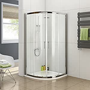 900 x 900 Quadrant 6mm Thick Sliding Glass Shower Enclosure with Tray + Free Waste