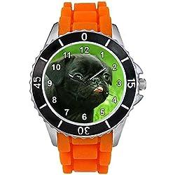 Pug negro Unisex Reloj para hombre y mujer con correa de silicona naranja