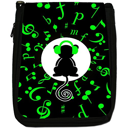 Musicale Animali Medium Nero Borsa In Tela, taglia M Musical Monkey