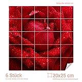 Graz Design 765221_20x25_60 Fliesenaufkleber Rote Rose/Tautropfen für Kacheln | Wand-Deko für Bad/Küchen-Fliesen (Fliesenmaß: 20x25cm (BxH)//Bild: 60x60cm (BxH))