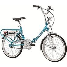 """Bici pieghevole Cicli Cinzia Firenze, telaio in acciaio, ruote da 20"""", taglia 31 (Azzurro, Cambio Shimano a 6 velocità)"""