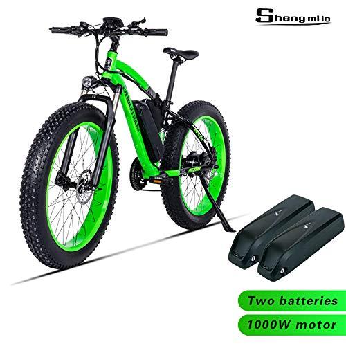 Shengmilo-MX02 26inch Fat Tire Electric Bike 1000W / 500W Beach Cruiser Mens Women Mountain e-Bike Pedal Assist 48V (Grün (Zwei Batterien), 1000w China Motor)