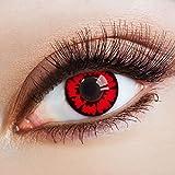aricona Farblinsen Farbige Kontaktlinse The Red Dahlia – Deckende Jahreslinsen für dunkle und helle Augenfarben ohne Stärke, Farblinsen für Karneval, Fasching, Motto-Partys und Halloween Kostüme