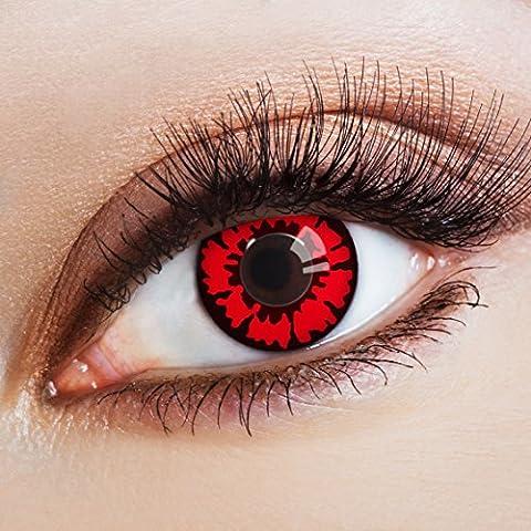 aricona Farblinsen Farbige Kontaktlinse The Red Dahlia – Deckende Jahreslinsen für dunkle und helle Augenfarben ohne Stärke, Farblinsen für Karneval, Fasching, Motto-Partys und Halloween (Red Devil Kostüm Für Kinder)