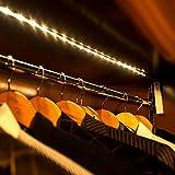 yiwa bande LED lumière avec 2modes Interrupteur Blanc chaud bande LED Veilleuse pour 30Accueil Armoire Lumières Escaliers Capteur de Mouvement lumineux de 1m