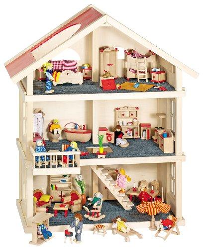 GoKi Puppenhaus mit 4 Zimmereinrichtungen, Puppen und viel Zubehör