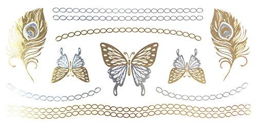 Le plume et le papillon Tatouages temporaire Tatouages lignes caténaires en main