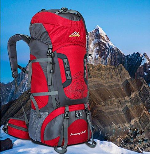 Reise-neue professionelle outdoor Bergsteigen Tasche Rucksack wasserdicht Außenrahmen der großen Kapazität Rucksack Tasche Red