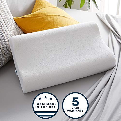 Sleep Innovations Contour Viaggio Cuscino con Federa in Misto Cotone, Poliuretano, White, Standard