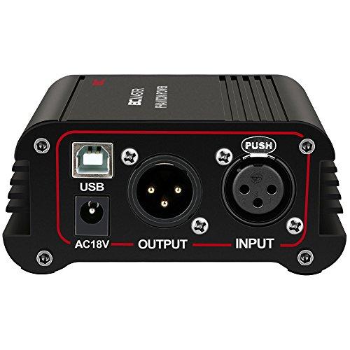 BC Master PP03 48V Phantomspeisung mit einem USB-Port und 48V Ausgang für jedes Kondensatormikrofon Music Recording Equipment, Schwarz (Mixer Allen)
