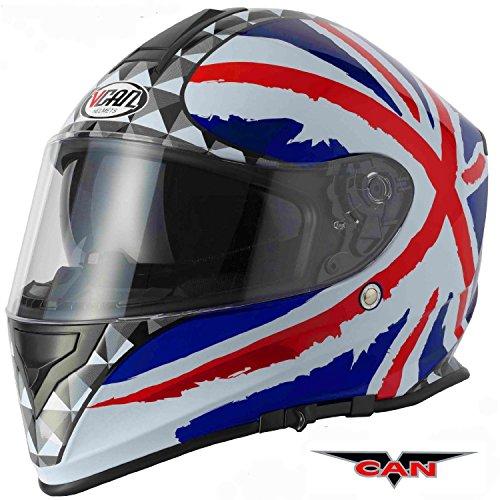 Moto caschi integrale: nuovo stile caschi faccia vcan v127 union jack acu completa, moto sportiva casco, casco touring (xs)