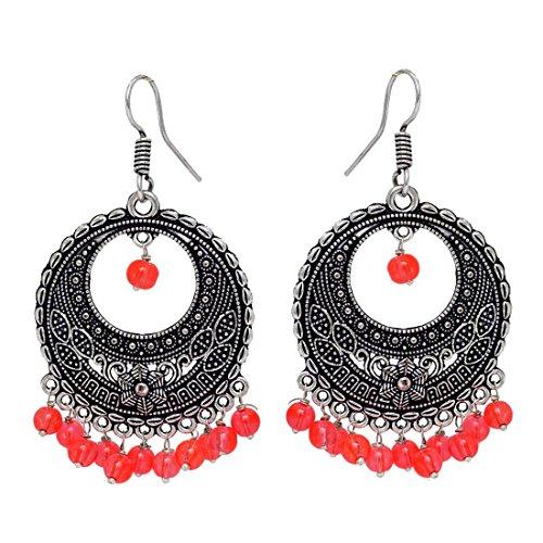Fashion Honor 10.00 Grams Orange Beaded Oxidised Silver Hoop Earrings Jewellery Rakhi...