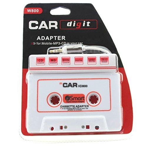 iprime® Adaptateur cassette pour autoradio voiture avec prise jack 3,5 mm pour iPhone, Samsung, Sony, Huawei, iPod, iPad, lecteur MP3, SmartPhone - Blanc