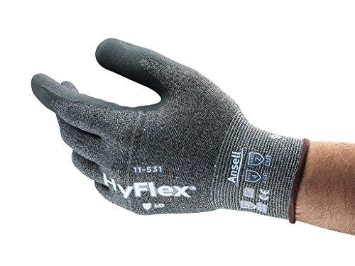HyFlex Ansell 11-531 / 10 Schnittschutz-Handschuhe, Mechanikschutz, Größe 10, Grau (12 Paar pro Beutel)