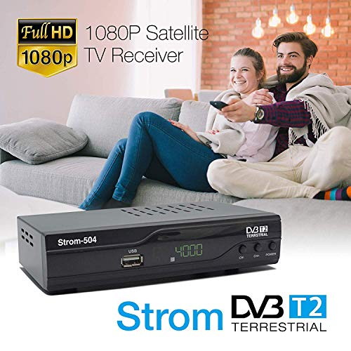 51U5roDAqsL - Strom 504 Decodificador Digital Terrestre - TDT / DVB T2 / Full HD / HDMI / Receptor TV / USB / H.265 HEVC / TDT Television / DVB-T2 / 4K