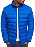 OZONEE Herren Mix Winterjacke Steppjacke Sweatjacke Wärmejacke Jacke Parka Gesteppt J.Style 515 BLAU M