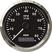 Kus Universal Tacómetro RPM Rev Contador con contador de horas 8000rpm motor de gasolina para 85mm 12V/24V con retroiluminación